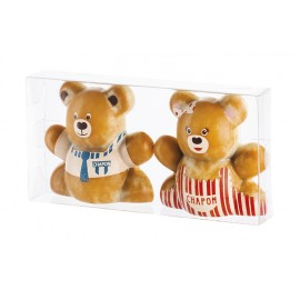 Transparent Case with 2 Choc Teddy Parents