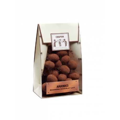 Almond bag coated with milk chocolate