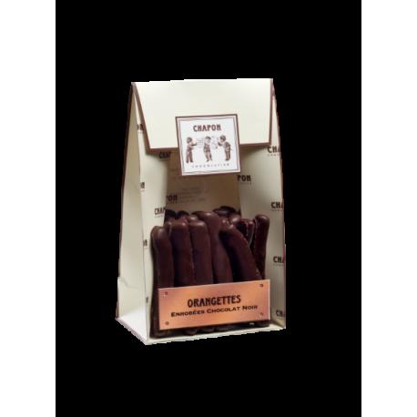Dark chocolate coated orange pouch