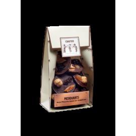 Beutel mit kandiertem Ingwer, überzogen mit dunkler Schokolade